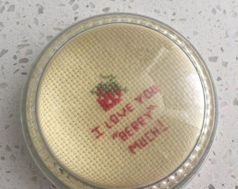 1970's Cross-stitched  Paperweight