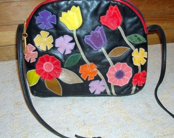Vintage SHARIF Leather Flower Applique Handbag Purse