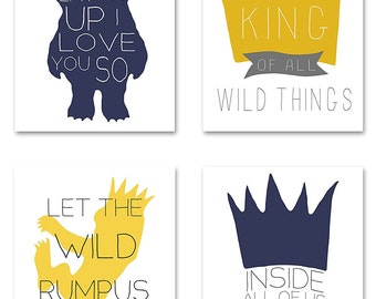 Where the Wild Things Are, Set of 4 Nursery Printable