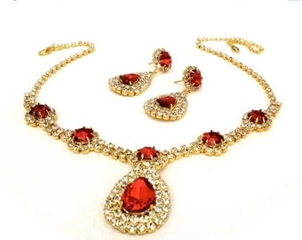 Clearance Red and Ice Rhinestone Necklace and Earring Demi Parure, Special Occasion, Wedding