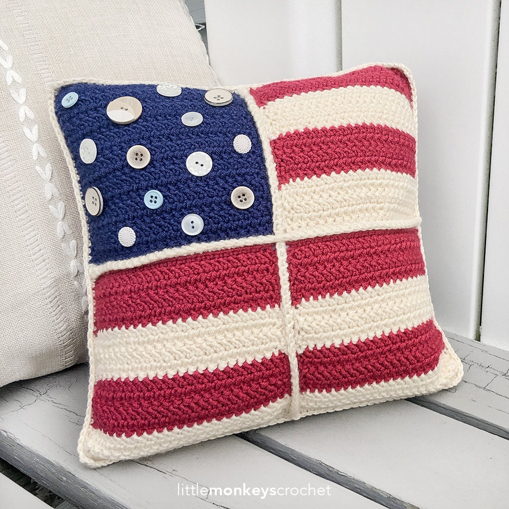 Americana Crochet 12 Quot Throw Pillow Pattern Americana
