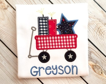 Boys fourth of july applique shirt or onesie with name, Boys july 4 wagon shirt, summer boys name shirt