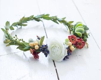 Rust+Navy Bloom Crown