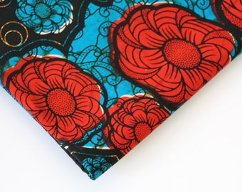African Wax Print Fabric / Floral Batik Fabric / Sold By The Half Yard / 100% cotton