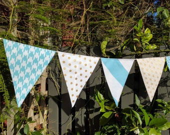 Aqua and gold fabric bunting - banner, garland, baby shower, home decor, party decoration, photography prop