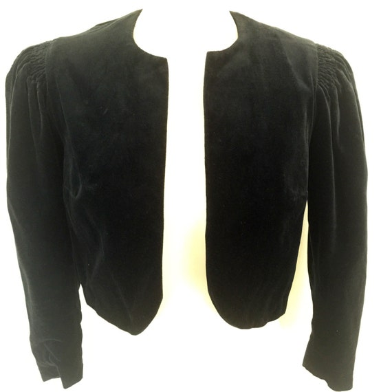 1940s velvet bolero cropped black jacket vintage puffed sleeves red satin lining small LARP cosplay vamp goth halloween