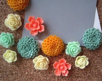 Pretty Flower Thumbtacks, Push Pin Set, 12 pcs Pushpins in Greens, Oranges, Cream, Bulletin Board Tacks, Wedding Decor, Housewarming Gift