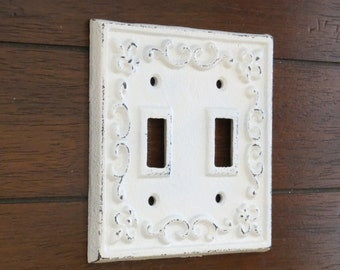 White Switch Plate/Double Light Switch Plate/Antique White or Pick Your Color/Shabby Chic Style/Cast Iron Light Switch Cover/Fleur de Lis