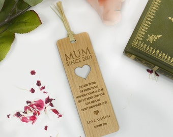 1x Engraved Wooden Mother's Day Bookmark Gift