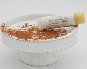 Cocoa Mint Natural Lip Balm, Peppermint Lip Balm, Flavored Lip Balm, Chocolate Lover, Vanilla Mint, Bath and Beauty, All Natural Skincare