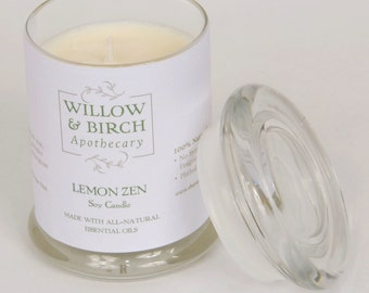 All Natural Soy Candle—Lemon Zen—Handmade Soy Candle, Aromatherapy Candle, Spa Candles, Summer Fragrance, Lavender Candle, Zen Home Decor