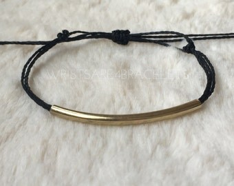 Custom Gold Bar Multistrand Friendship Bracelet - Pura Vida Style Bracelet