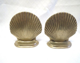 Pair of Vintage Brass Clam Shell Bookends Hollywood Regency Palm Beach Style
