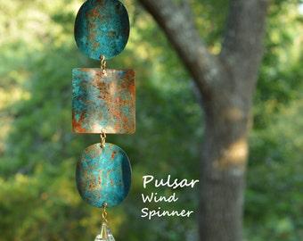BreezeWay Pulsar Wind Spinner | Garden Wind Art w/ Copper Patinas & Cyrstal Suncatcher | Solid Copper | Handcrafted in Texas by BreezeWay