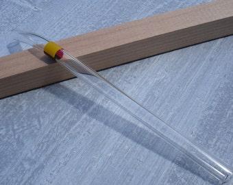 "Glass drinking straw ""Belgium"", single, 10 x 200 mm, curved"