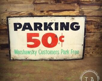 Vintage 50 Cent Parking Metal Advertising Sign Traffic Warshawksy Mufflers