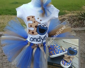 Cookie Monster Tutu Set with Converse