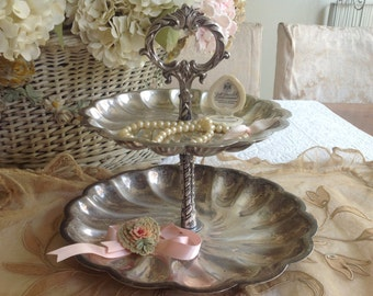 Beautiful vintage silver plated tid bit tray