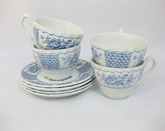 Ironstone Tea Cups and Saucers, Myott Melody, England, set of 4
