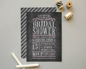 Bridal Shower Invites, Chalkboard Invitation for Couples Shower, Vintage Chalkboard Party Invitations, Kraft Paper Invite