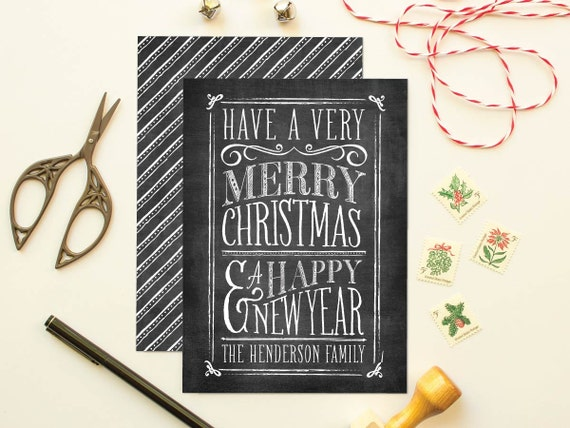 Chalkboard Greeting Card, Typographic Christmas Card, Non-Photo Holiday Cards, Personalized Holiday Greeting Card - Chalkboard Lettering