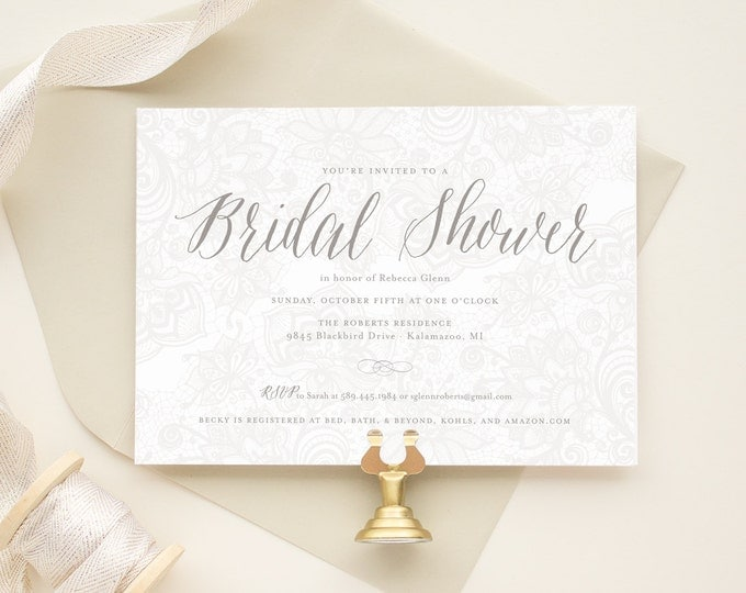 Lace Bridal Shower Invite, Rustic Bridal Shower Invitation, Neutral Invitations, Vintage Theme Parties - Vintage Lace