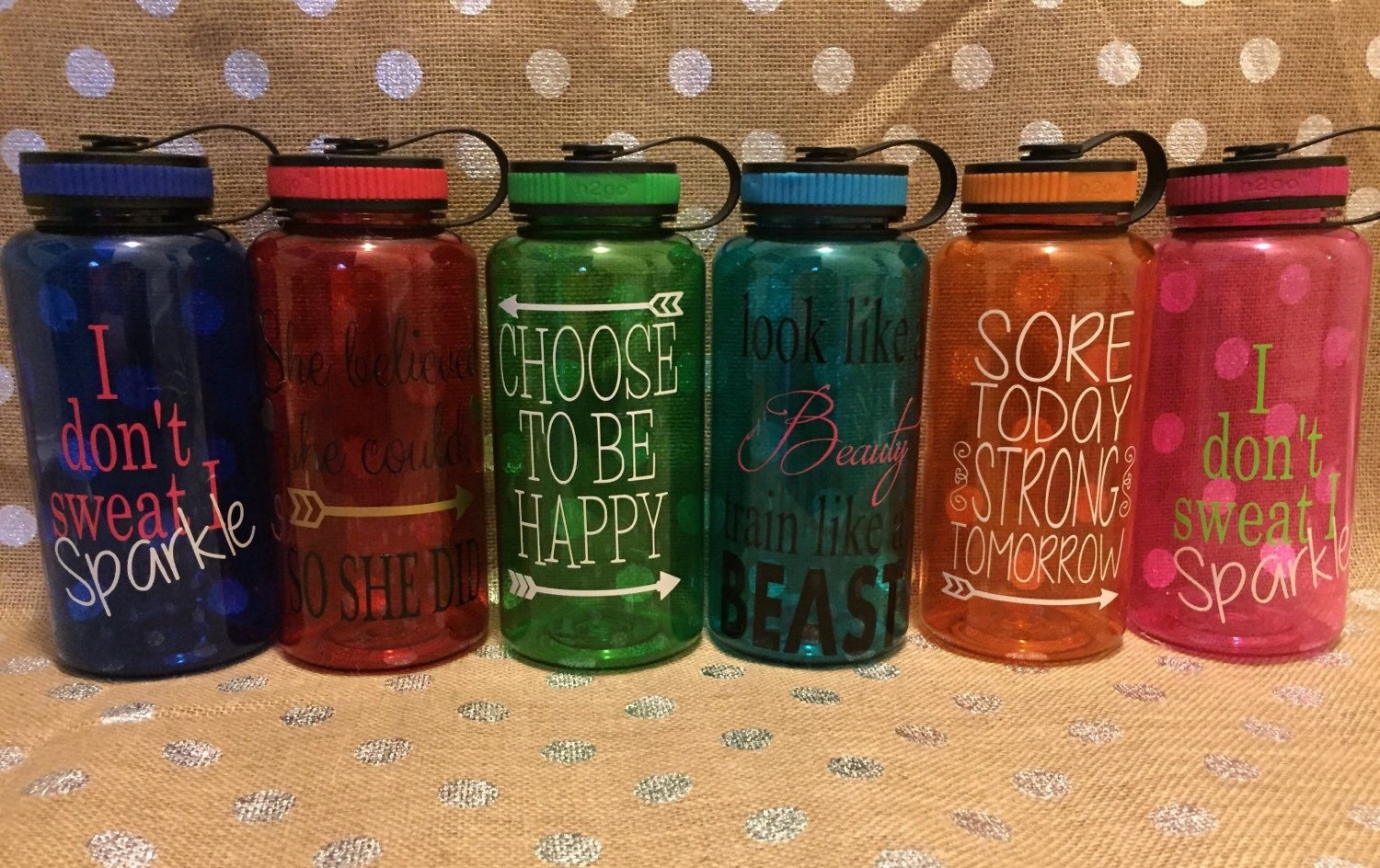 Personalized 34 Ounce Water Bottle Inspirational Quotes I