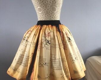 Ladies Thorin's Map inspired Full skater style Skirt