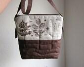 Soft Linen Crossbody bag, Hand printed linen, Every day bag, Clutch Purse