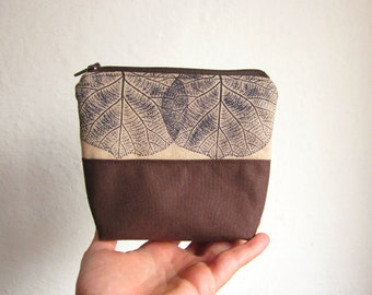 Small cosmetic bag, Hand Printed cotton, Make-up organizer, Cosmetic Bag, leaves stamp, cosmetics pouch