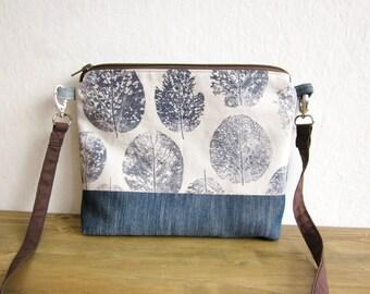 Crossbody blue bag, Hand printed leaves, Denim bag, Every day bag, Hand printed fabric, leaves stamp, middle size bag, natural handbag