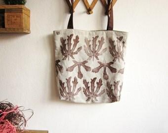 Big Linen Tote Bag, Hand printed linen bag, Shopping bag, Book bag, Linen tote bag, Brown bag, Hand printed leaves, hand printed linen