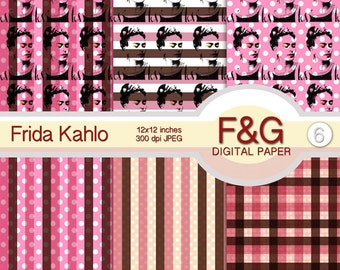 FRIDA Digital Papers, Craft, Scrapbook Papers, Scrapbooking, Cartonnage, Background, Supplies, Vintage, Lines, Pois - PACK3