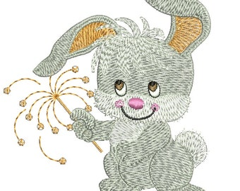 rabbit with a sparkler  - Machine Embroidery Design