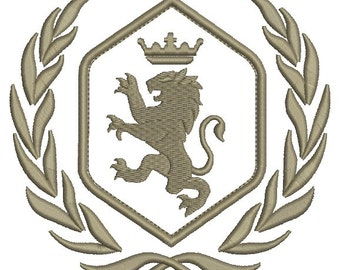 royal lion, crown and laurel wreath - Machine embroidery design - applique,   design tested.