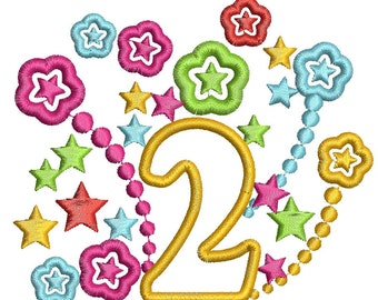 second anniversary, number applique  - Machine Embroidery Design, instantly download