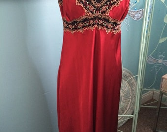 Vintage long red nightgown with side slit