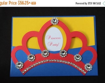 Pocket card princess crown invitations for your favorite princess