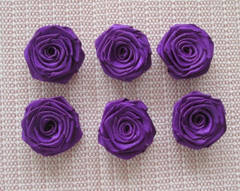 12 Ribbon Origami Roses - Dark Violet color, only for 4.00 usd