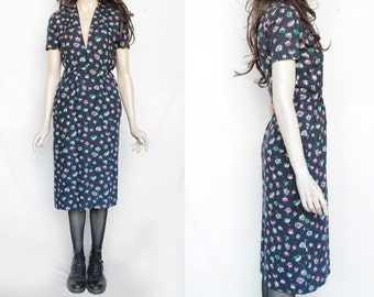 70s Vintage Colorful Floral Patterned Dress for Women