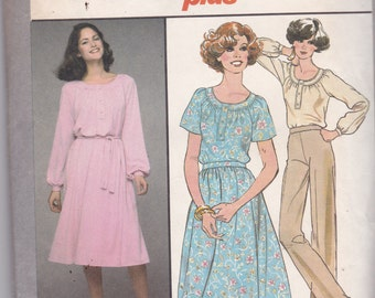 Simplicity 8412 Vintage Pattern Womens Pull Over Dress, Top and Skirt Size 14