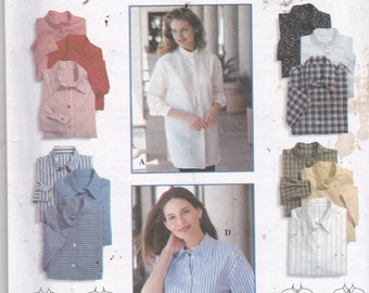 Simplicity 9818 Vintage Pattern Womens Button Up Tops in 4 Variations Size 6,8,10 UNCUT