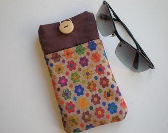 Sunglasses case, Soft eyeglasses case, Case for sunglasses, Quilted eyeglass case, Flowers