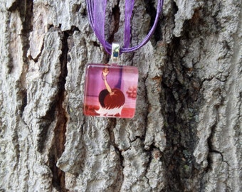 Disney Animals Collection Babette from Disney's Beauty and the Beast Glass Pendant and Ribbon Necklace