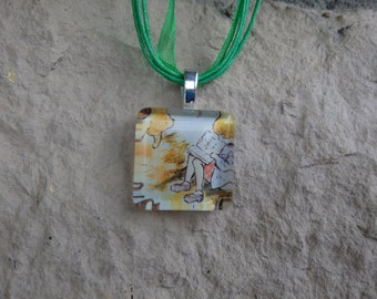Disney Animals Collection Winnie the Pooh and Christopher Robin Glass Pendant and Ribbon Necklace