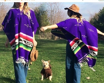 SUMMER SALE Vintage 1970's PURPLE Mexican Blanket Poncho Striped Serape Woven Cotton Southwestern Fringe Cape || One Size
