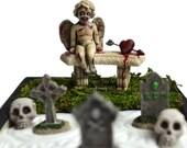 Mini Zen Garden // Halloween Decoration // Desk Toy // Evil Cherub // Cemetery // Skull // Tombstone // Valentines Gift // Office Decor
