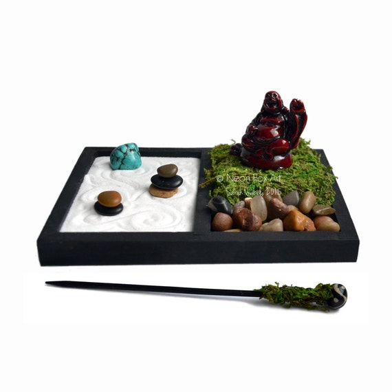 Mini Zen Garden Laughing Buddha Statue Desk Accessory