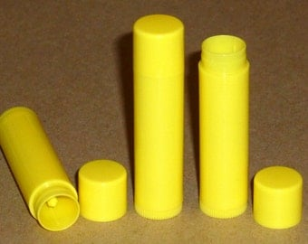 10 NEW Empty Bright Yellow LIP BALM Chapstick Tubes Containers - .15 oz / 5ml