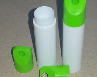 100 New Empty White LIP BALM Chapstick Tubes containers WITH Green Apple Lanyard Caps